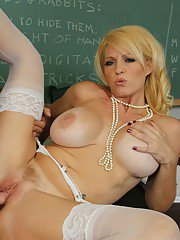 Busty mature lady Charlee Chase gives a blowjob and gets shagged hardcore