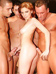Lascivious chick with petite tits is into hardcore groupsex with three guys