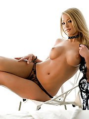 Big busted blonde hottie Markesa Yeager slipping off her lingerie