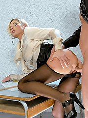 Lustful european babes getting pissed and sharing a hard cock