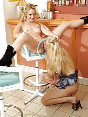 Skinny amateur teens on high heels stripping and making some lesbian action