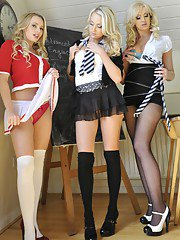 Steaming hot blonde college babes stripping and posing together
