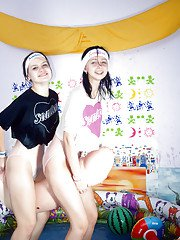 Filthy teenage lesbians with hairy cunts having some fun with their toys