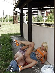 Big busted blonde hooker gets banged hardcore by an oldman outdoor