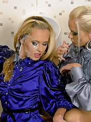Lusty fashionistas in stockings playing with dildo and getting bukkaked