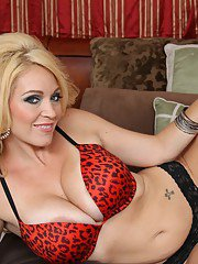 Filthy mom with big boobs Charlee Chase stripping and spreading her legs