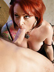 Horny mature lady Kylie Ireland gives a blowjob and gets shagged hardcore