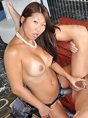 Filthy asian slut in stockings Beti Hana is into hardcore strapon action