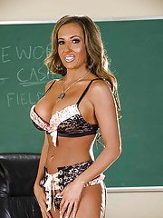 Fuckable teacher with round boobs Richelle Ryan stripping in the class
