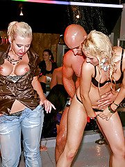 Lustful chicks having wild fun with malestrippers at the drunk party
