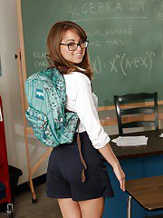 Adorable schoolgirls in glasses Riley Reid stripping and spreading her legs
