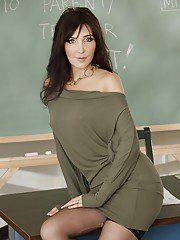 Tempting teacher in stockings Diana Prince slipping off her clothes