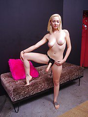 Filthy teen blonde Rylie Richman stripping and posing wearing a strapon