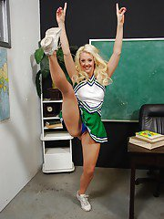 Petite cheerleader Courtney Taylor stripping and spreading her legs