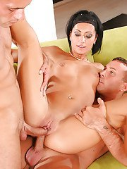 Slutty european brunette gets blowbanged and double penetrated