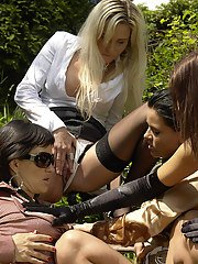 Hot lady Tatiana Milovani is into fully clothed pissing action outdoor