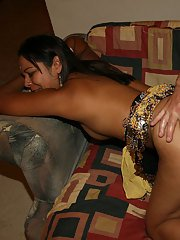 Slutty indian chick with petite ass is into groupsex with two guys