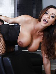 Busty femdom in pantyhose Ariella Ferrera gets her feet and pussy licked