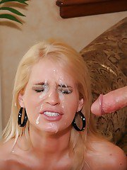 Big busted pornstar Madison James gives a blowjob and gets facialized