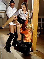 Hot MILF Sharka Blue is into fully clothed threesome with her friends