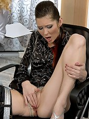 Fully clothed office ladies on high heels sharing a hard asian cock