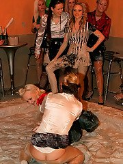 Hot ass fetish gals Eliss Fire  Lexxis Brown are into messy mud wrestling