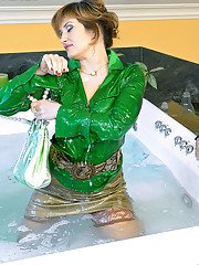 Hot MILF Tatiana Milovani has some fully clothed wet fun with her friend
