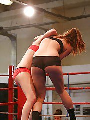 Naughty lesbians have a rough catfight going into passionate scissoring