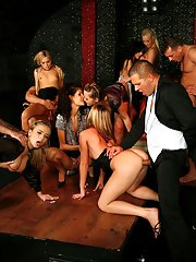 Lecherous gals have a fervent groupsex with well-hung guys