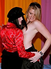 Voluptuous party gals has a wild groupsex with horny male strippers