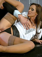 Virus Vellons  Kate Gold have a fully clothed groupsex with a bald guy