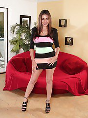 Steaming hot latina MILF with big jugs striping off her clothes