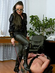 Filthy femdom in glasses Gina Killmer torturing her naked male pet