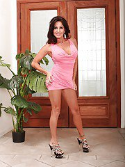 Bosomy latina MILF Tara Holiday slipping off her dress and panties