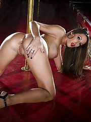 Gorgeous brunette pornstar on high heels uncovering her ravishing curves