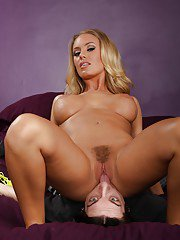 Adorable blonde babe with big tits Nicole Aniston face sitting a guy