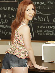 Nasty brunette coed with petite ass Giselle Leon stripping in the class