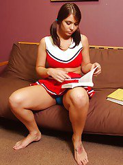 Bosomy cheerleader Beverly Hills stripping and spreading her legs