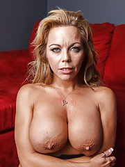 Horny MILF with huge jugs Amber Lynn Bach sucks and fucks a big hard cock