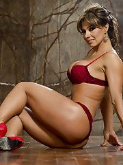 Sexy latina MILF Esperanza Gomez stripping off her suit and lingerie