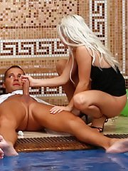 Salacious MILFs enjoy a wild orgy with horny guys at the pool party