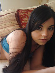Filthy latina cutie stripping and fingering her trimmed cooter
