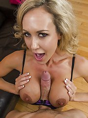 Horny MILF Brandi Love gives a titjob and gets shagged hardcore