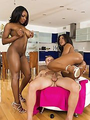 Salacious ebony chicks sharing a big white cock and a sticky cumshot