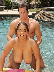 Fatty chick with massive flabby jugs gets screwed hardcore by the pool