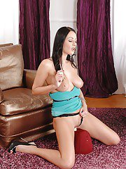 Hot MILF Nicole Smith stripping and playing with a cock machine