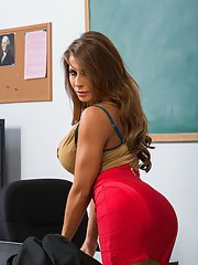 Seductive teacher with big jugs Madison Ivy stripping in the classroom