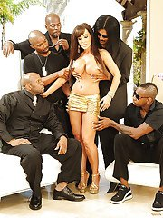 Lisa Ann is into interracial gang-bang action with well-hung black guys