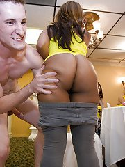 Foxy blonde sucks off a black cock and receives a facial at the party