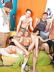 Promiscuous girls having hardcore fun with well-hung guys at the party